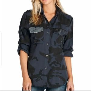 Elan button down shirt with sequins and studs